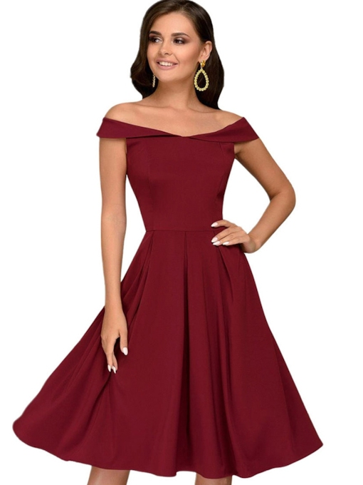 Off Shoulder High Waist Elegant A-Line Dress