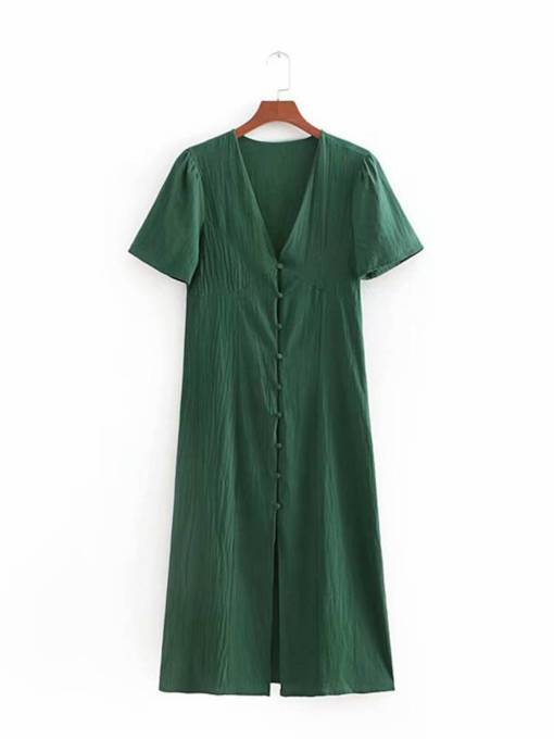 Short Sleeve Casual Button Day Dress