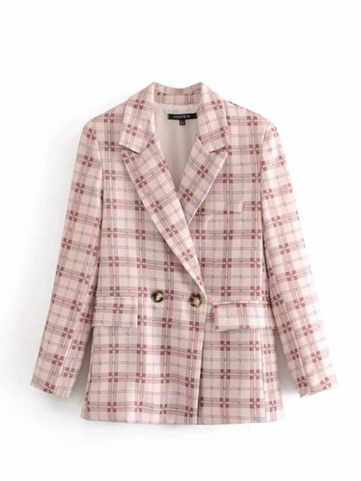 Double Breasted Plaid Double Pocket Women's Blazer