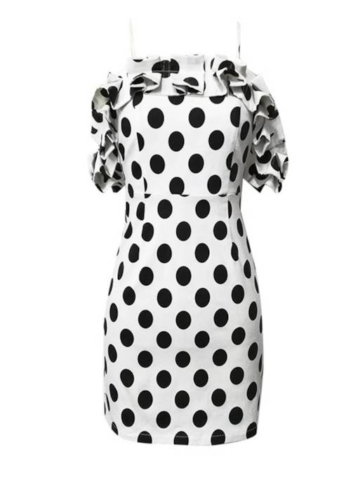 Polka Dots Prints Ruffle Women's Bodycon Dress
