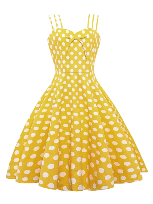 Yellow Vintage Polka Bowknot Day Dress