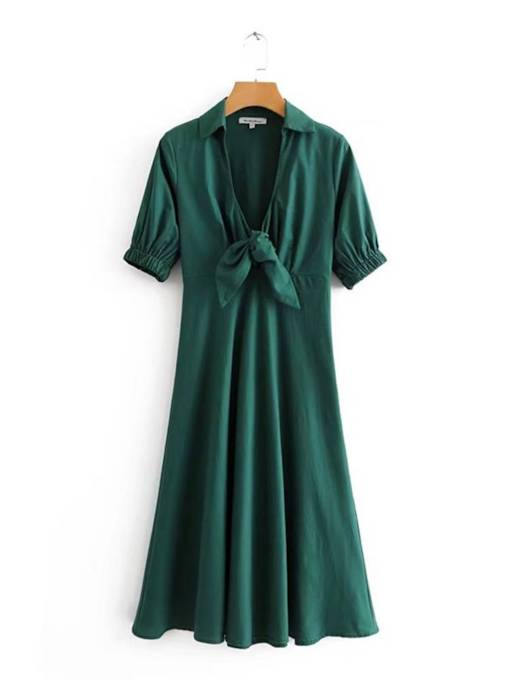 Short Sleeve Bowknot Plain A-Line Dress
