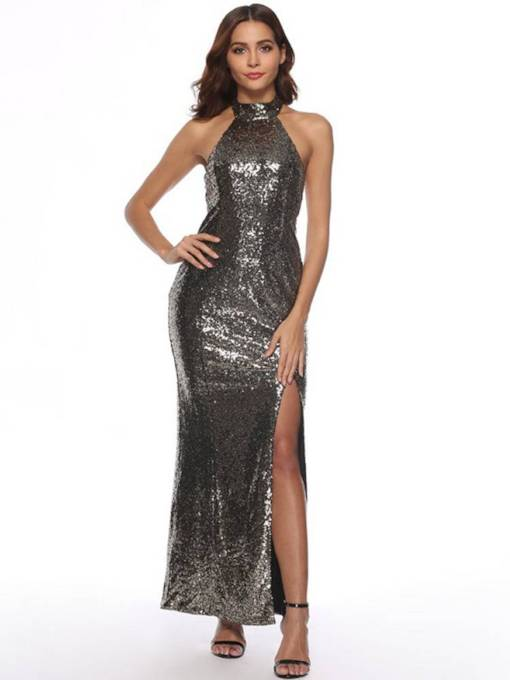 Stand Collar Sequins High Waist Split Maxi Dress