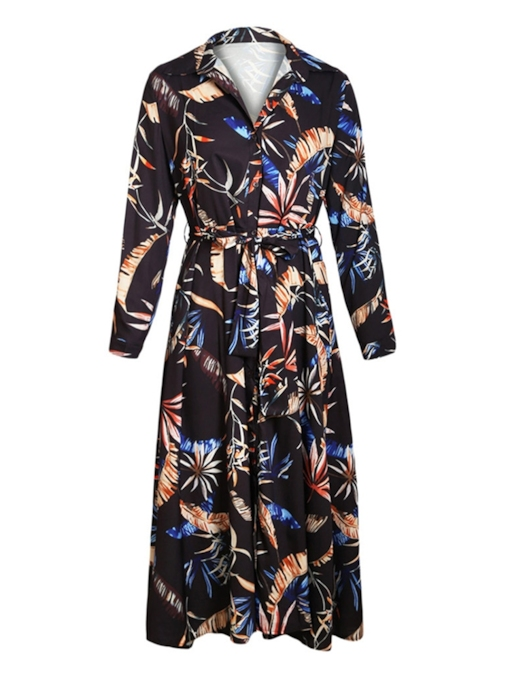 Long Sleeve Prints Belt Women' Day Dress