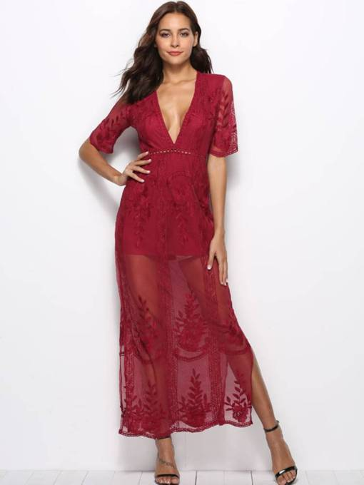 Half Sleeve V Neck High Waist Lace Dress