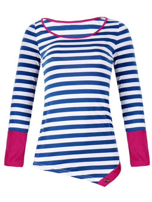 Irregular Stripe Print Color Block Women's T-Shirt