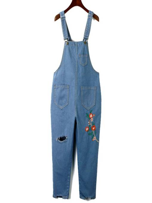 Floral Embroidery Hole Ankle Length Women's Overalls