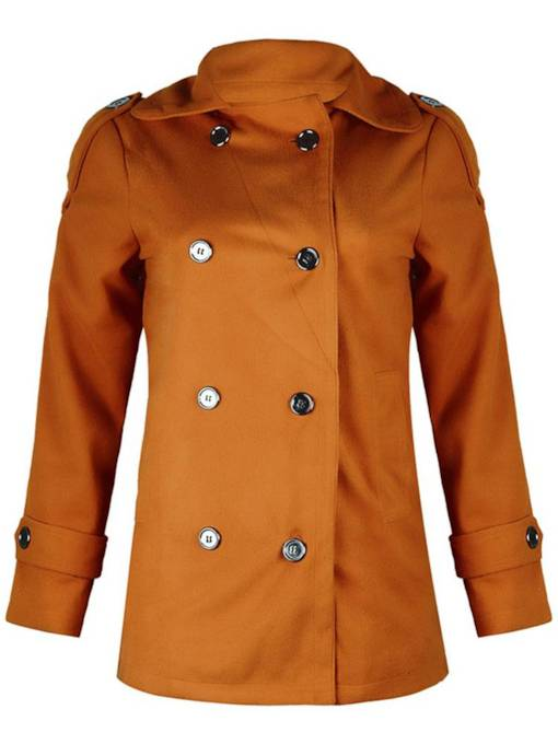 Double-Breasted Wide Pocket Lapel Women's Overcoat