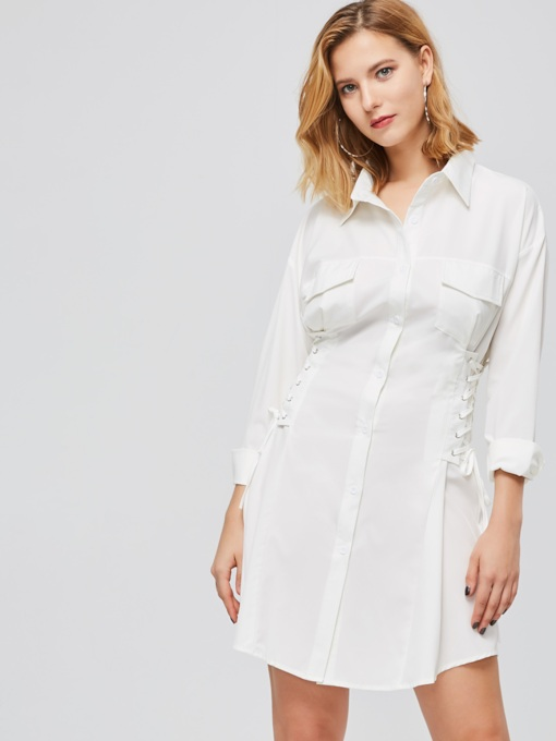 White Long Sleeve Button Shirt Dress