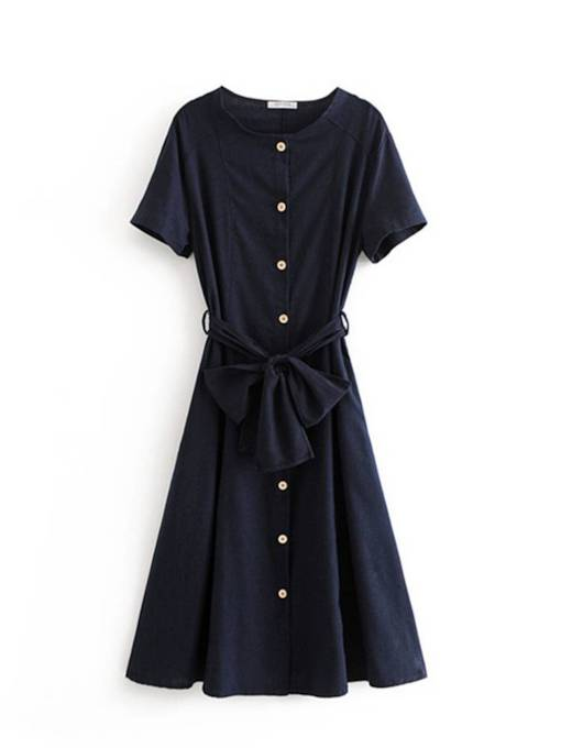 Round Neck Short Sleeve Button Belt Day Dress