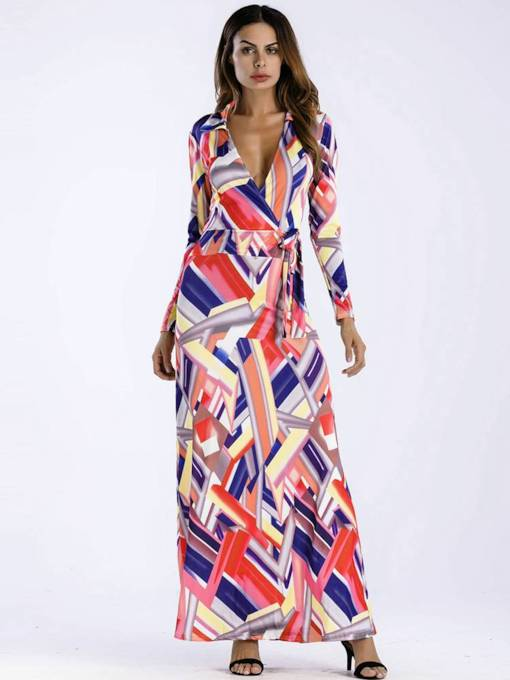 V Neck Long Sleeve Prints Belt Maxi Dress
