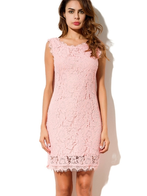 Round Neck Lace Elegant Bodycon Dress