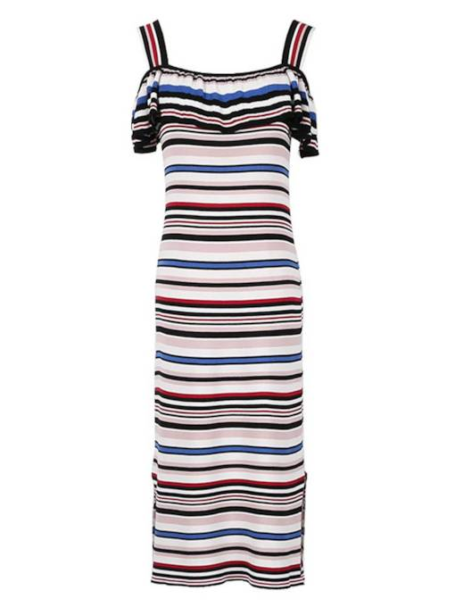 Falbala Shoulder Stripe Bodycon Dress