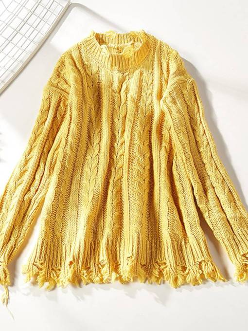 Plain Tassel Women's Mock Neck Sweater
