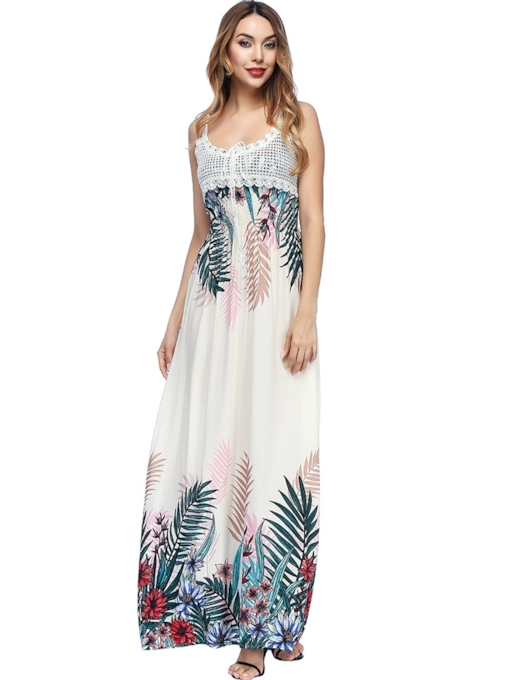 Spaghetti Strap Sleeveless Floral Bohemian Maxi Dress