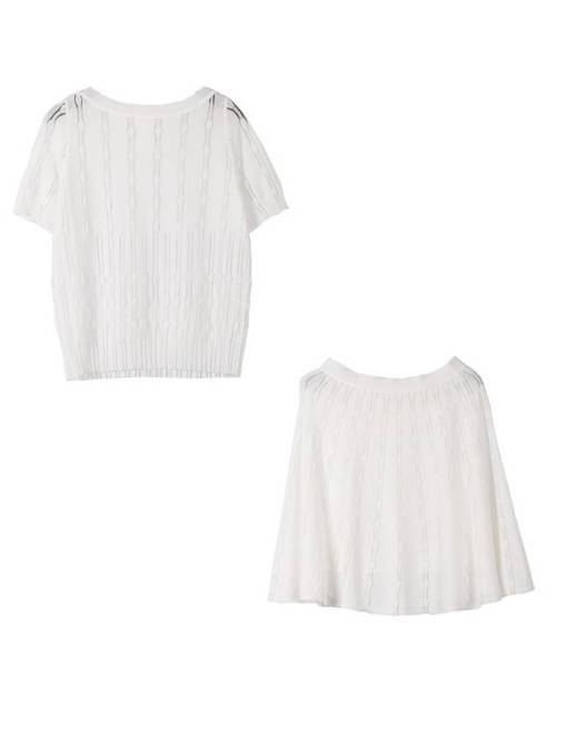 Knit T-Shirt and Skirt Women's Two Piece Set