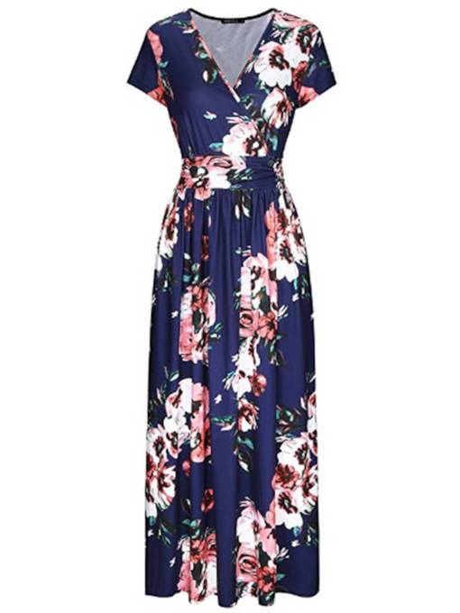 Floral Prints High Waist Maxi Dress