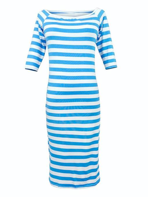 Boat Neck Half Sleeve Stripe Bodycon Dress