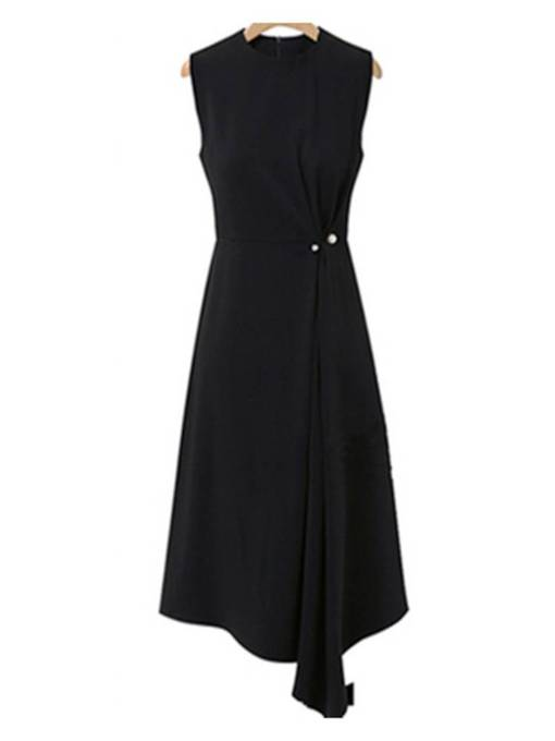 V Neck Elegant Bead Plain Day Dress