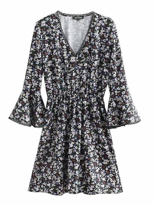 Flare Sleeve Prints Floral Women's Day Dress