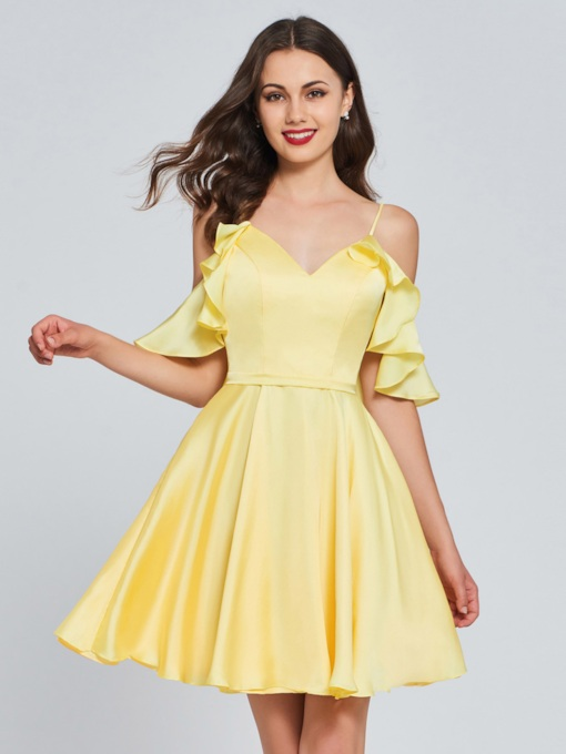 A-Line Spaghetti Straps Ruffles Homecoming Dress