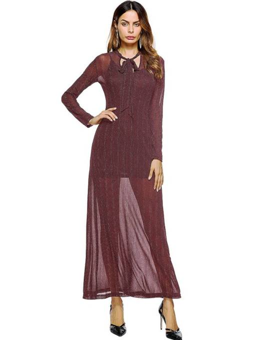 Long Sleeve Mesh Sexy Maxi Dress