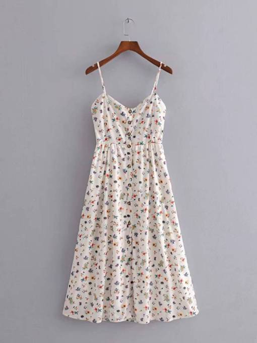 Spaghetti Strap Button Prints Women's Day Dress