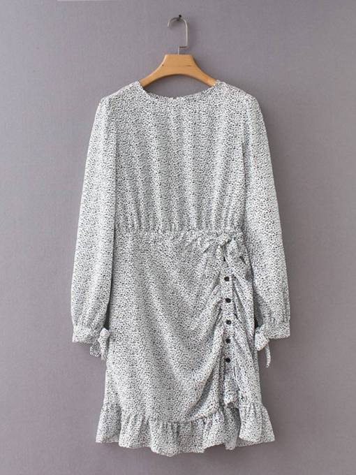 Round Neck Long Sleeve Prints Button Day Dress