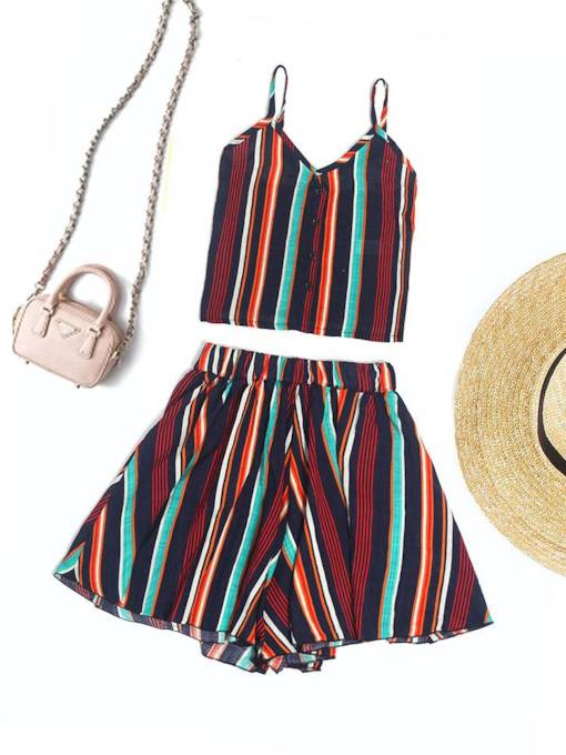 Color Block Striped Vest and Shorts Women's Two Piece Set