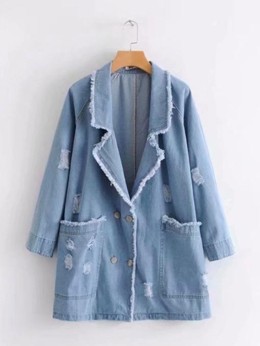 Wide Pocekt Notched Lapel Women's Denim Blue Trench Coat