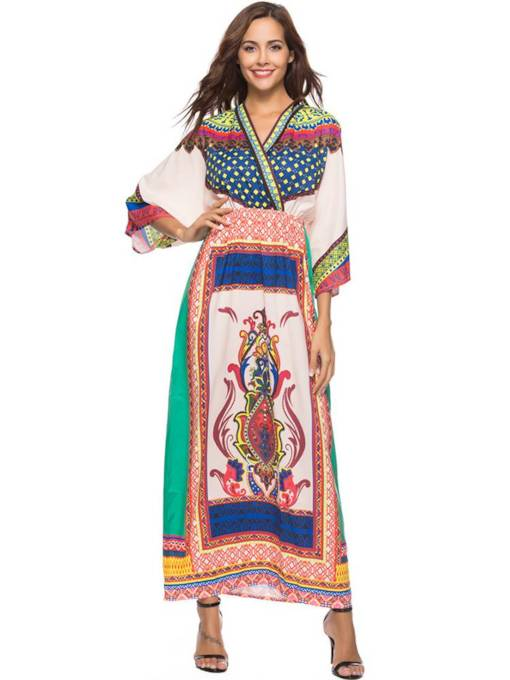 Geo Prints High Waist Travel Look Maxi Dress