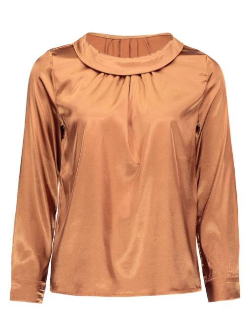Ruched Pure Color Lantern Sleeve Women's Blouse
