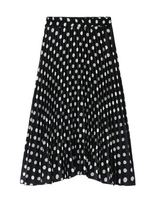 Mid-Calf Ploka Dots Pleated Women's Maxi Skirt