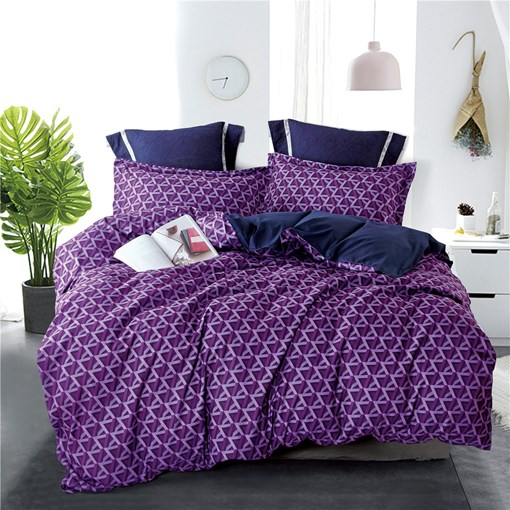 Purple Stripe and Plaid Printing 4-Piece Polyester Bedding Sets/Duvet Cover