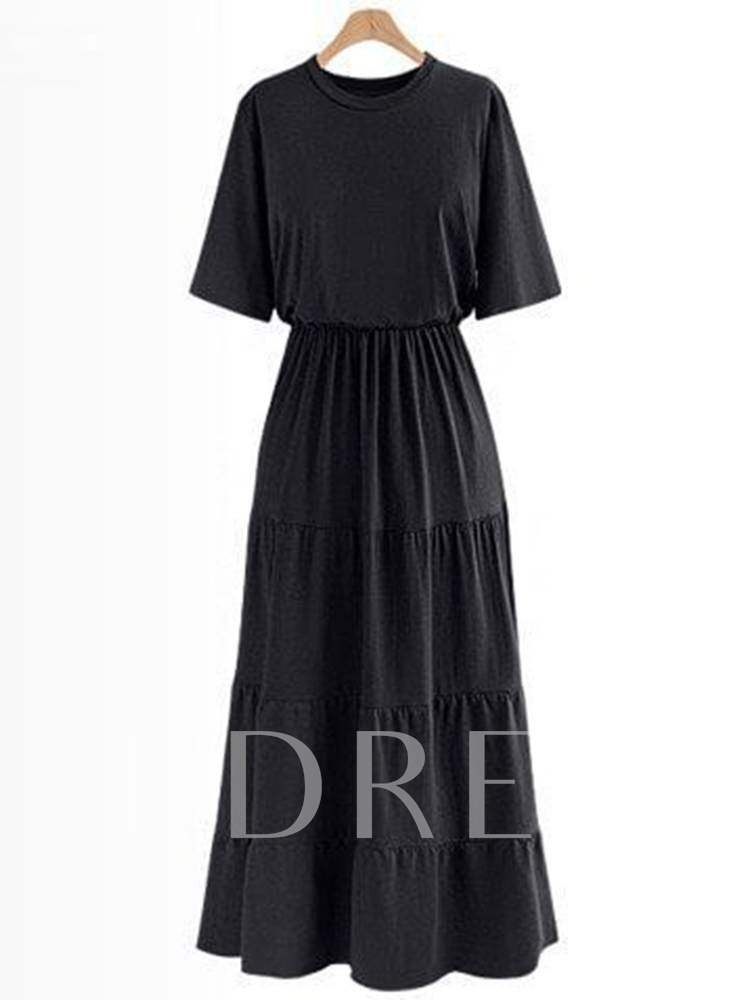 Buy Short Sleeve High Waist Casual A-Line Dress, Spring,Summer,Fall, 13381517 for $15.81 in TBDress store