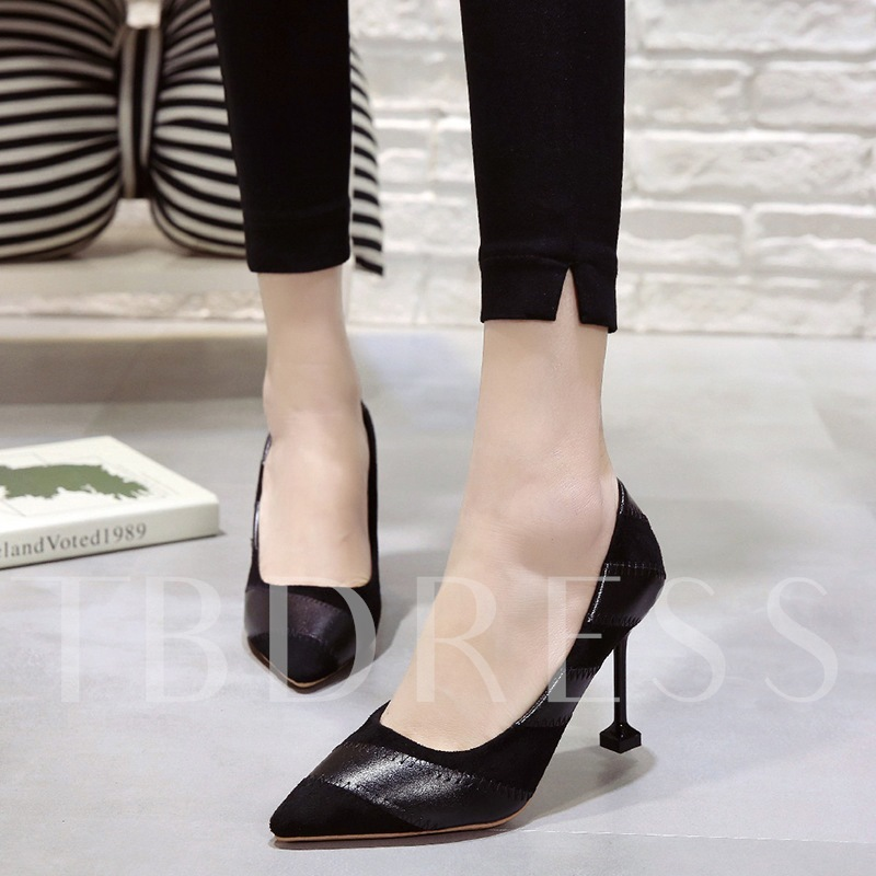 Buy Color Block Pointed Toe Stiletto Heel Slip-On Women's Pumps, Spring,Summer,Fall, 13381627 for $29.28 in TBDress store