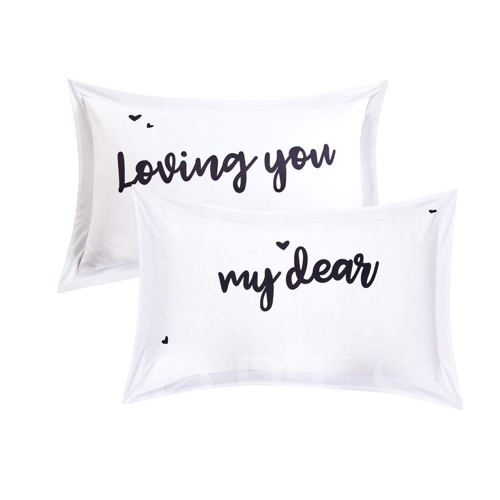 Loving You Letter Printing White 4-Piece Polyester Bedding Sets/Duvet Cover