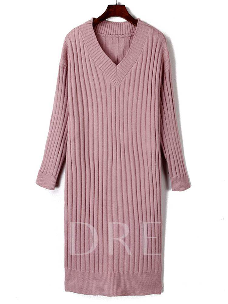 Buy V Neck Plain Casual Sweater Dress, Spring,Fall,Winter, 13381557 for $14.34 in TBDress store