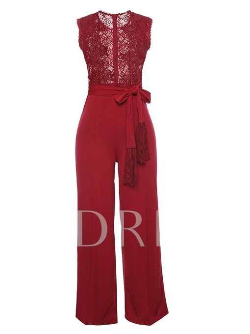 Lace Patchwork See-Through Wide Legs Lace-Up Women's Jumpsuit