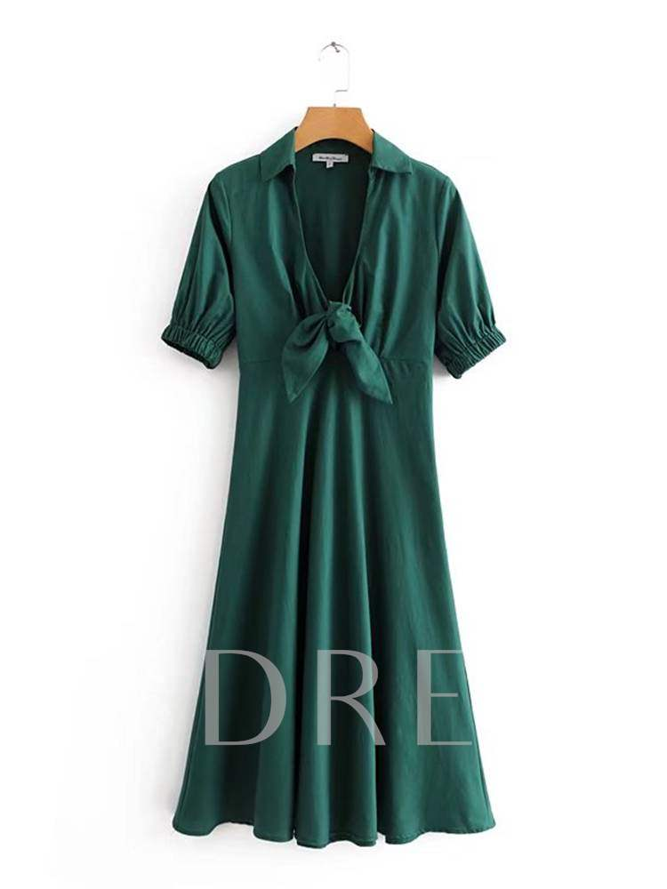 Buy Short Sleeve Bowknot Plain A-Line Dress, Summer,Fall, 13381533 for $21.69 in TBDress store