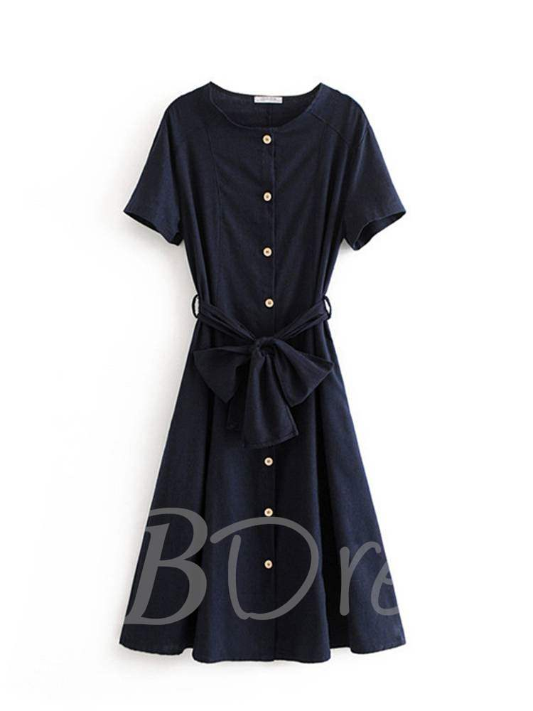 Buy Round Neck Short Sleeve Button Belt Day Dress, Summer, 13382708 for $20.59 in TBDress store