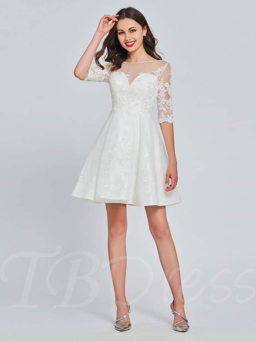 A-Line Scoop Button Lace Homecoming Dress