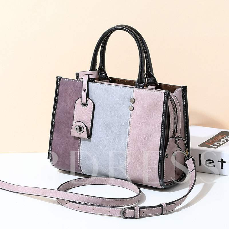 Occident Style Modern Color Block Women Tote Bag