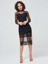 Long Sleeve Mesh Stand Collar Bodycon Dress