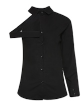 One Sleeve Cold Shoulder Single-Breasted Women's Shirt
