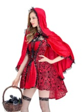 Little Red Riding Hood Lace-Up Cosplay Halloween Costume