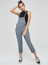 Loose Stripe Pocket Women's Overalls