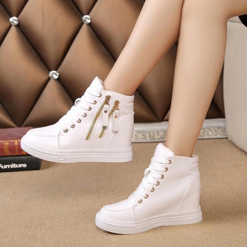 Lace-Up Zipper Round Toe Elevated High Top White Sneakers
