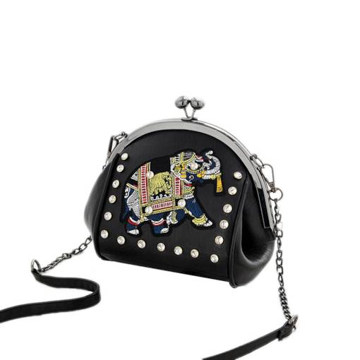 Shell Shaped Rivet Chain Women Crossbody Bag