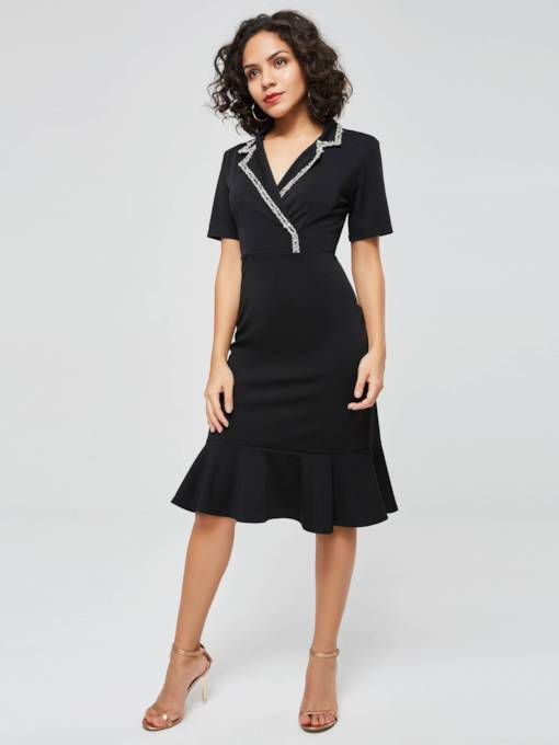 Short Sleeve Ruffle Hem Women's Day Dress